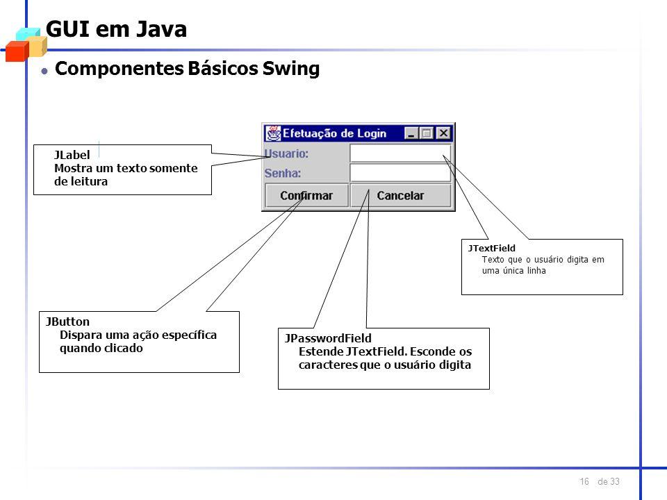 GUI em Java Componentes Básicos Swing JLabel