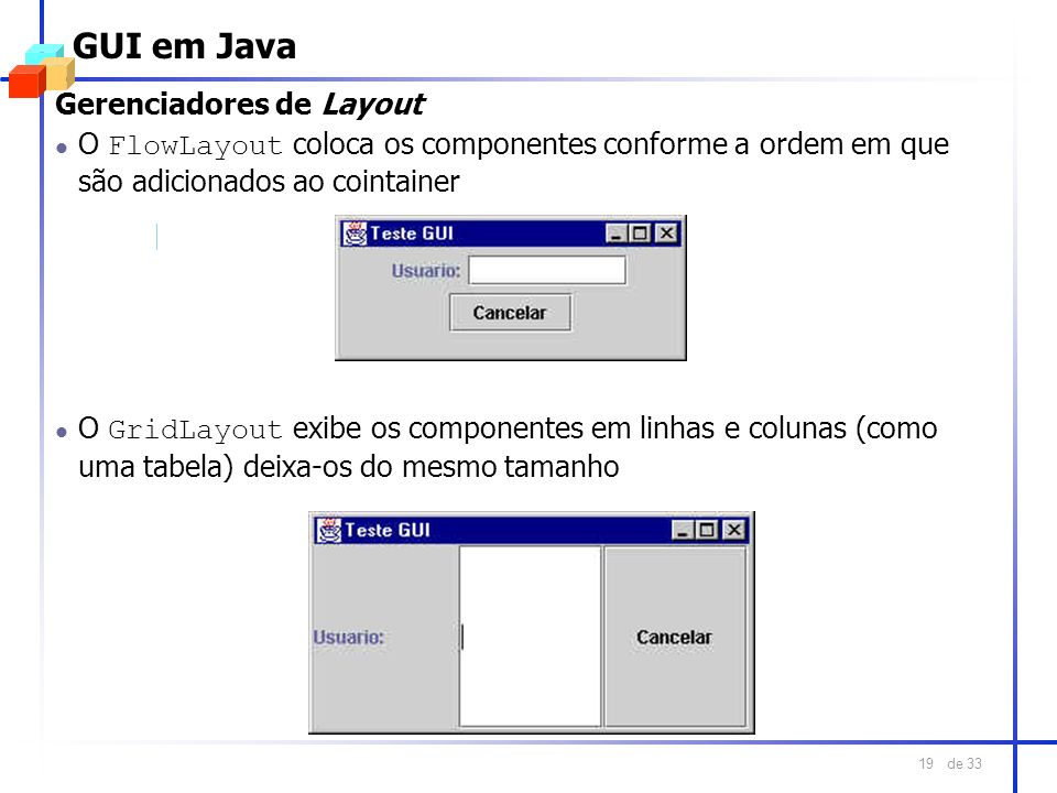 GUI em Java Gerenciadores de Layout