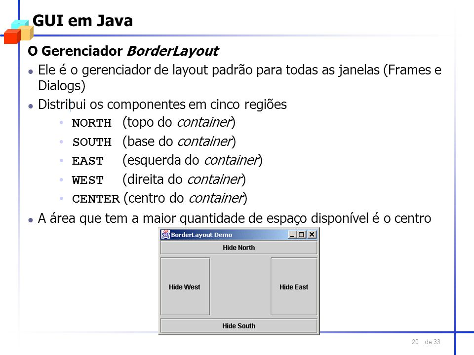 GUI em Java O Gerenciador BorderLayout