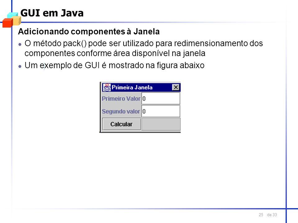 GUI em Java Adicionando componentes à Janela