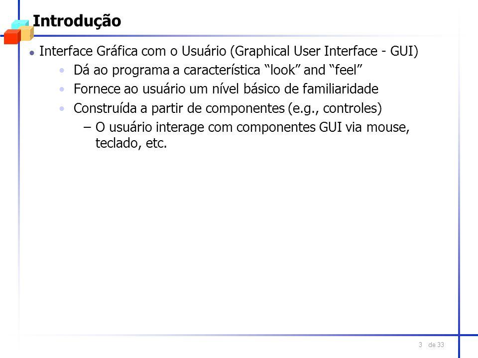 IntroduçãoInterface Gráfica com o Usuário (Graphical User Interface - GUI) Dá ao programa a característica look and feel