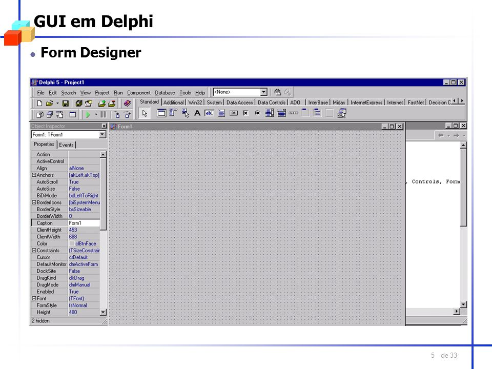 GUI em Delphi Form Designer