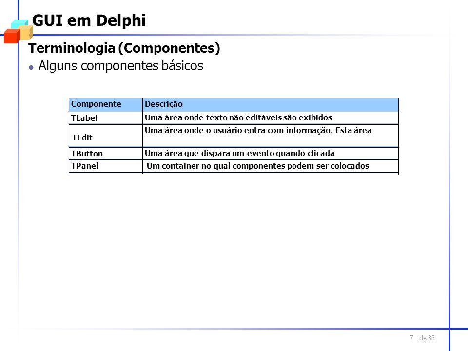 GUI em Delphi Terminologia (Componentes) Alguns componentes básicos