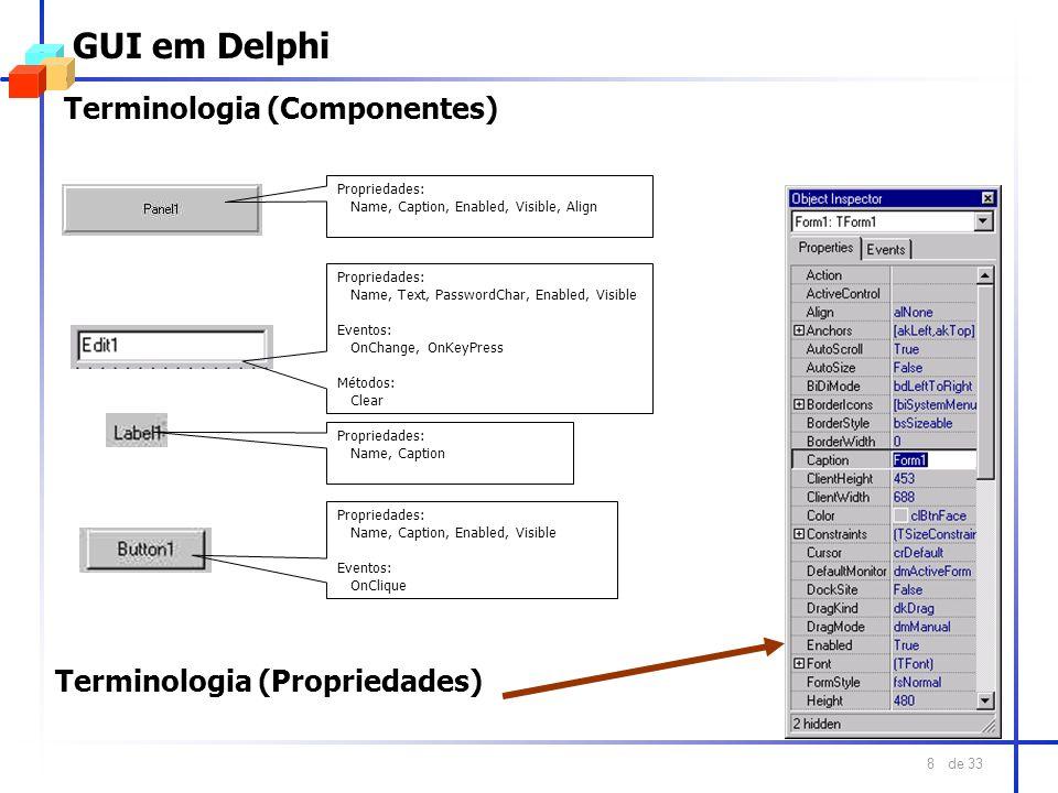 GUI em Delphi Terminologia (Componentes) Terminologia (Propriedades)
