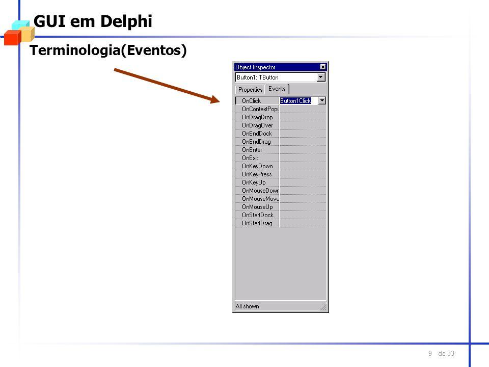 GUI em Delphi Terminologia(Eventos)