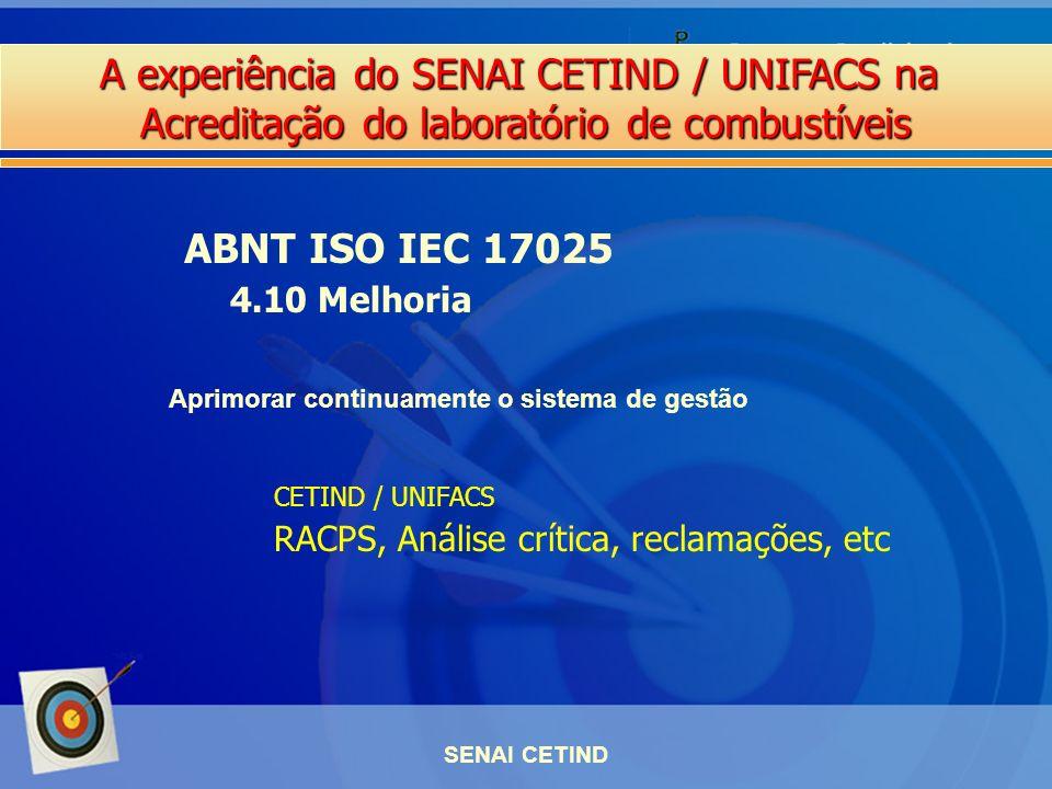 ABNT ISO IEC 17025 4.10 Melhoria. Aprimorar continuamente o sistema de gestão. CETIND / UNIFACS. RACPS, Análise crítica, reclamações, etc.
