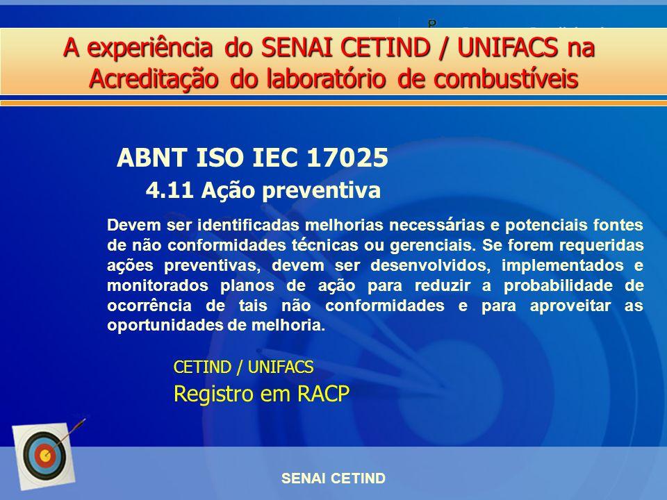 ABNT ISO IEC 17025 4.11 Ação preventiva Registro em RACP