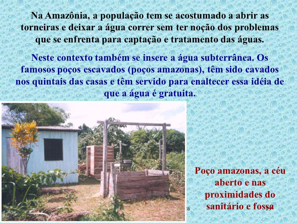 Poço amazonas, a céu aberto e nas proximidades do sanitário e fossa