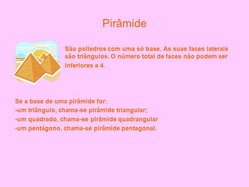 Pirâmide São poliedros com uma só base. As suas faces laterais são triângulos. O número total de faces não podem ser.
