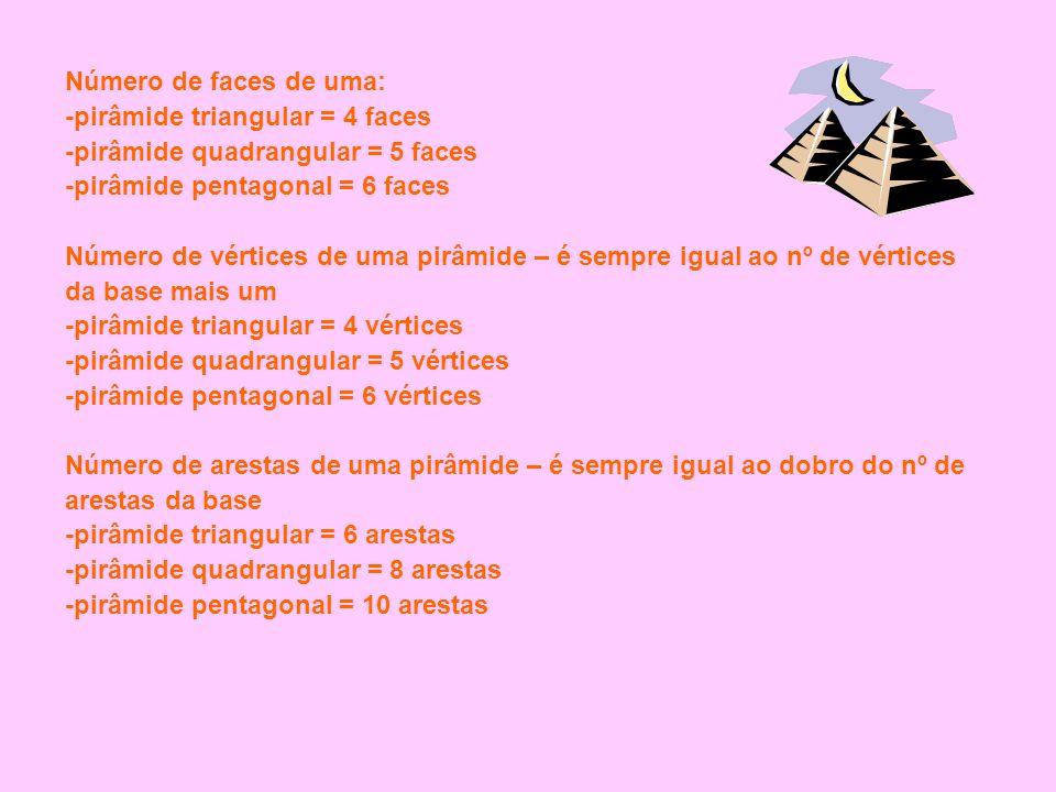 Número de faces de uma: -pirâmide triangular = 4 faces. -pirâmide quadrangular = 5 faces. -pirâmide pentagonal = 6 faces.