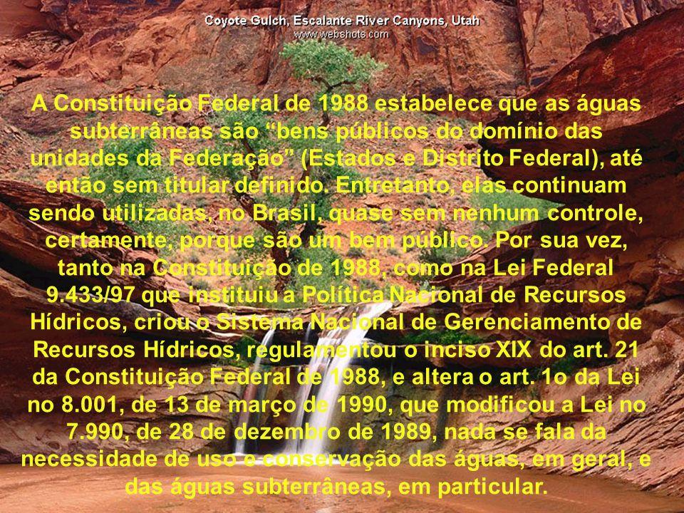 A Constituição Federal de 1988 estabelece que as águas subterrâneas são bens públicos do domínio das unidades da Federação (Estados e Distrito Federal), até então sem titular definido.