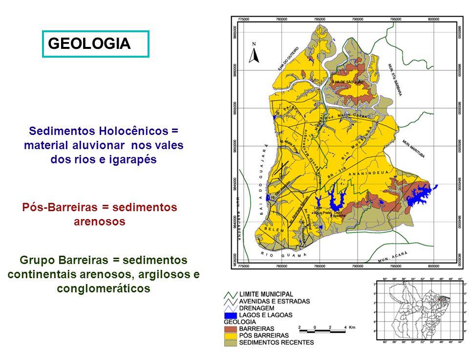 Pós-Barreiras = sedimentos arenosos
