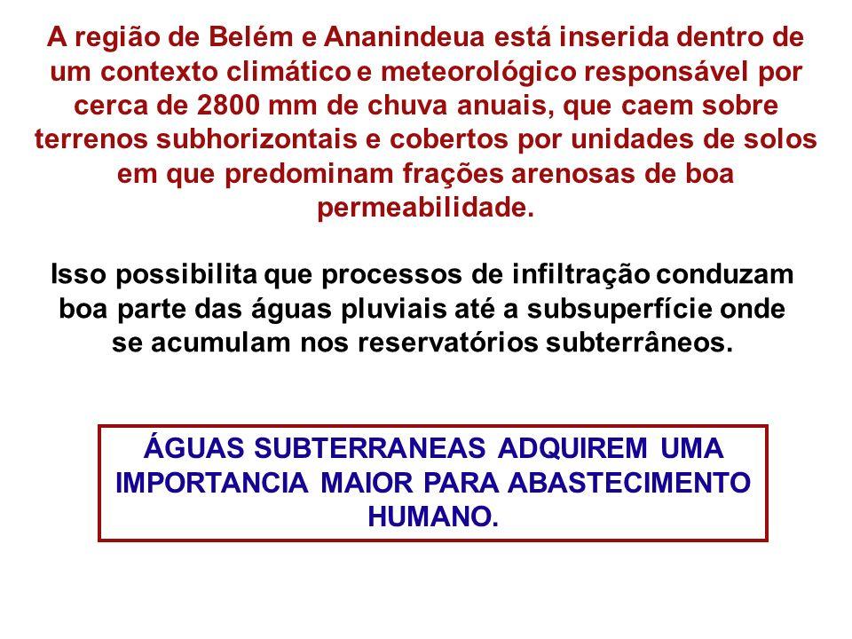 A região de Belém e Ananindeua está inserida dentro de um contexto climático e meteorológico responsável por cerca de 2800 mm de chuva anuais, que caem sobre terrenos subhorizontais e cobertos por unidades de solos em que predominam frações arenosas de boa permeabilidade.
