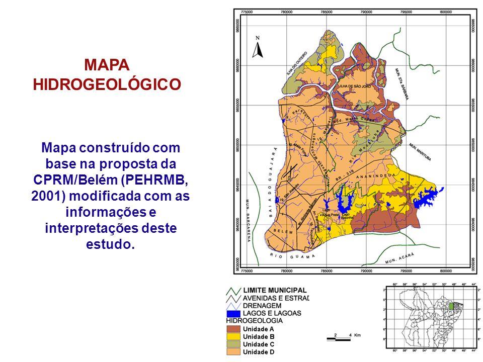 MAPA HIDROGEOLÓGICO Mapa construído com base na proposta da CPRM/Belém (PEHRMB, 2001) modificada com as informações e interpretações deste estudo.