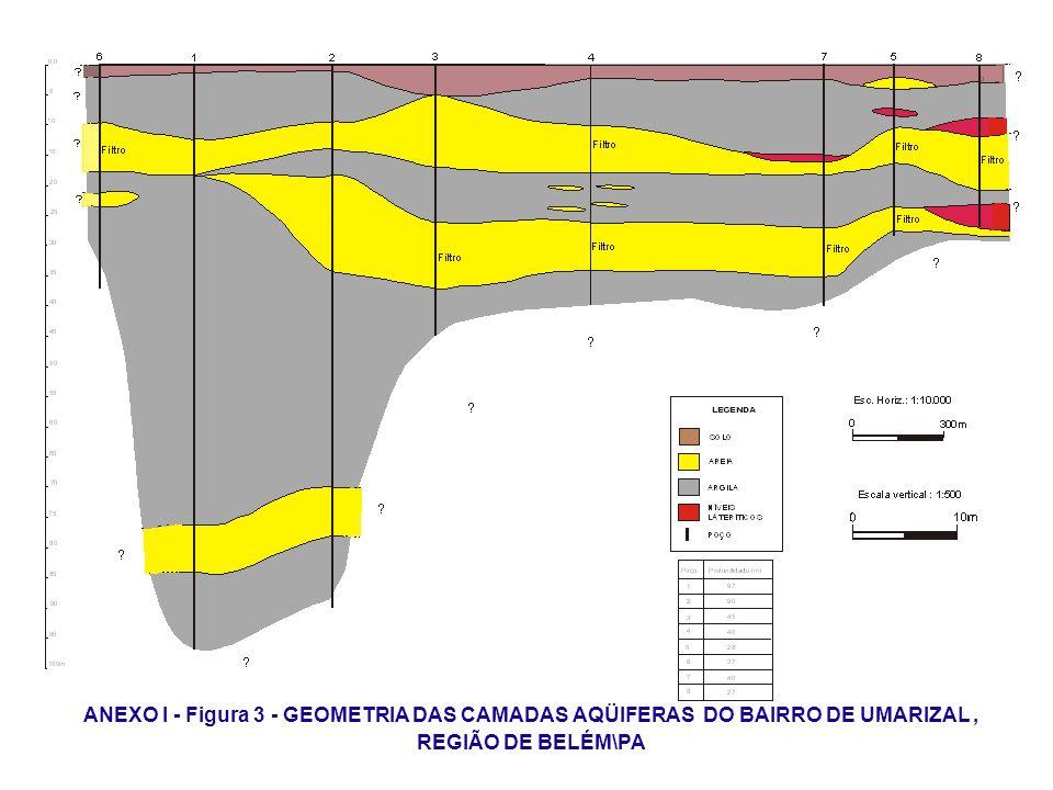ANEXO I - Figura 3 - GEOMETRIA DAS CAMADAS AQÜIFERAS DO BAIRRO DE UMARIZAL , REGIÃO DE BELÉM\PA