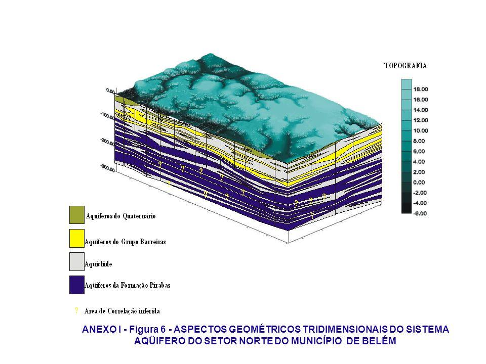 ANEXO I - Figura 6 - ASPECTOS GEOMÉTRICOS TRIDIMENSIONAIS DO SISTEMA AQÜIFERO DO SETOR NORTE DO MUNICÍPIO DE BELÉM