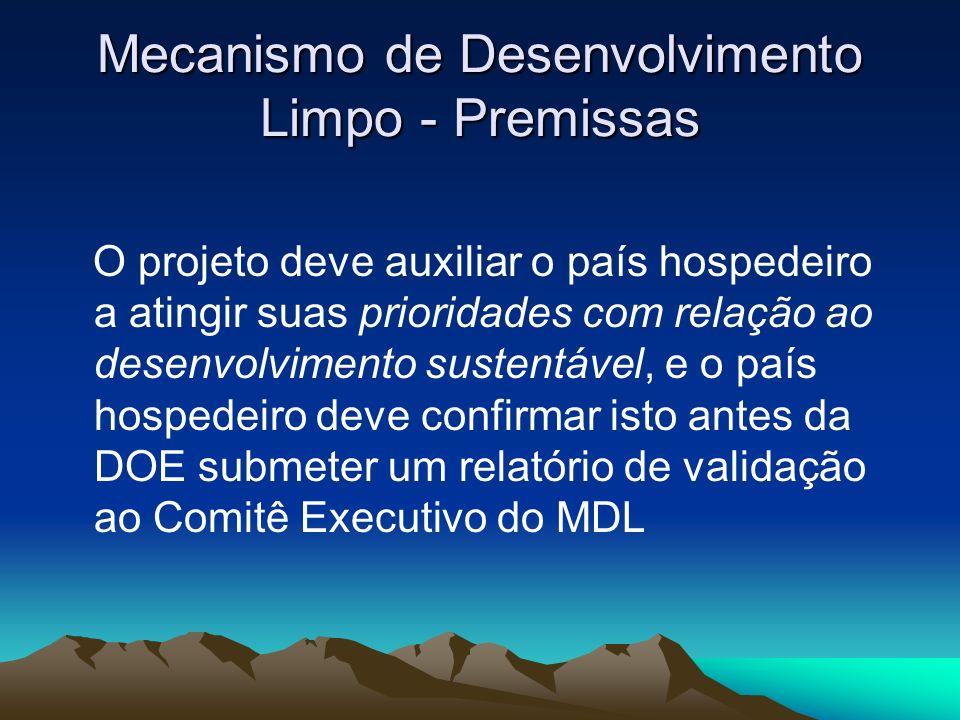 Mecanismo de Desenvolvimento Limpo - Premissas