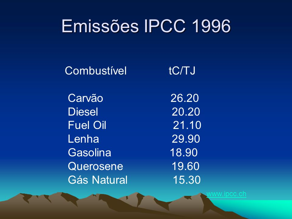 Emissões IPCC 1996 Combustível tC/TJ Carvão 26.20 Diesel 20.20