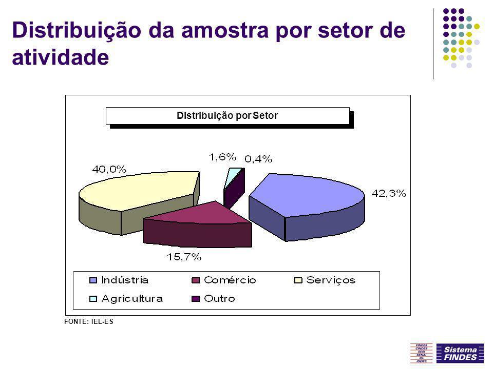Distribuição da amostra por setor de atividade