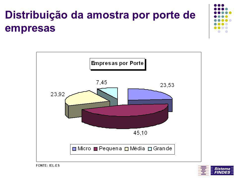 Distribuição da amostra por porte de empresas