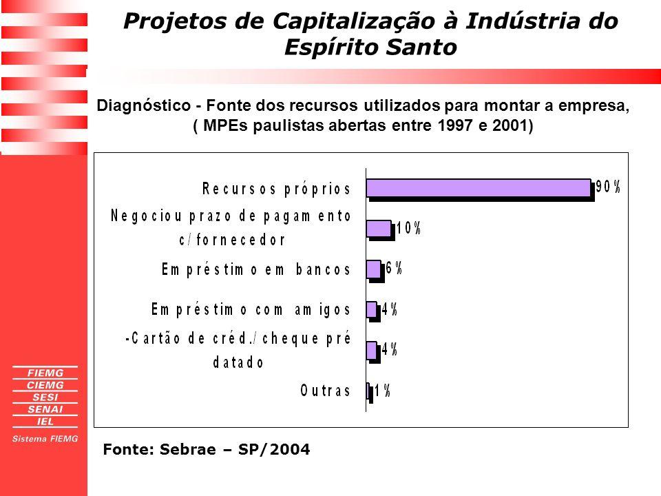 Diagnóstico - Fonte dos recursos utilizados para montar a empresa, ( MPEs paulistas abertas entre 1997 e 2001)