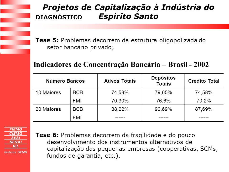 Indicadores de Concentração Bancária – Brasil - 2002