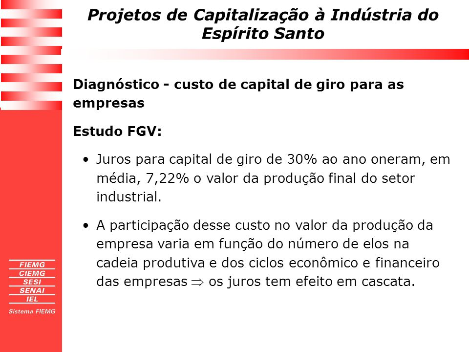 Diagnóstico - custo de capital de giro para as empresas