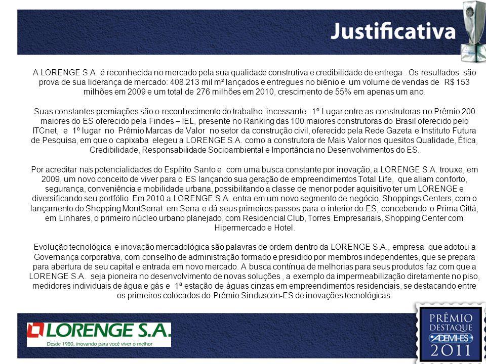 A LORENGE S.A. é reconhecida no mercado pela sua qualidade construtiva e credibilidade de entrega .