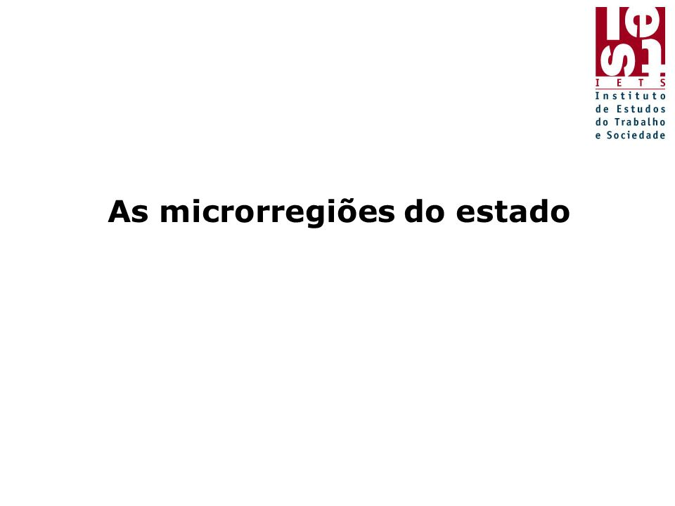 As microrregiões do estado