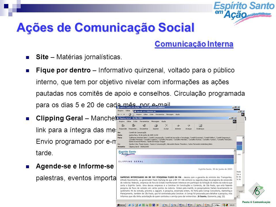 Ações de Comunicação Social Comunicação Interna