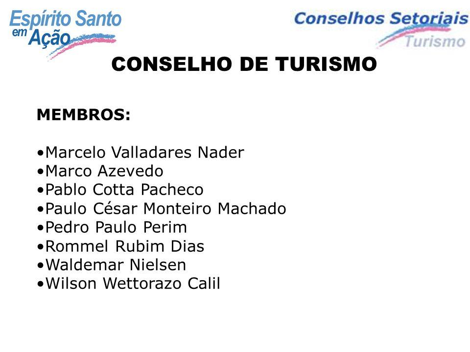 CONSELHO DE TURISMO MEMBROS: Marcelo Valladares Nader Marco Azevedo