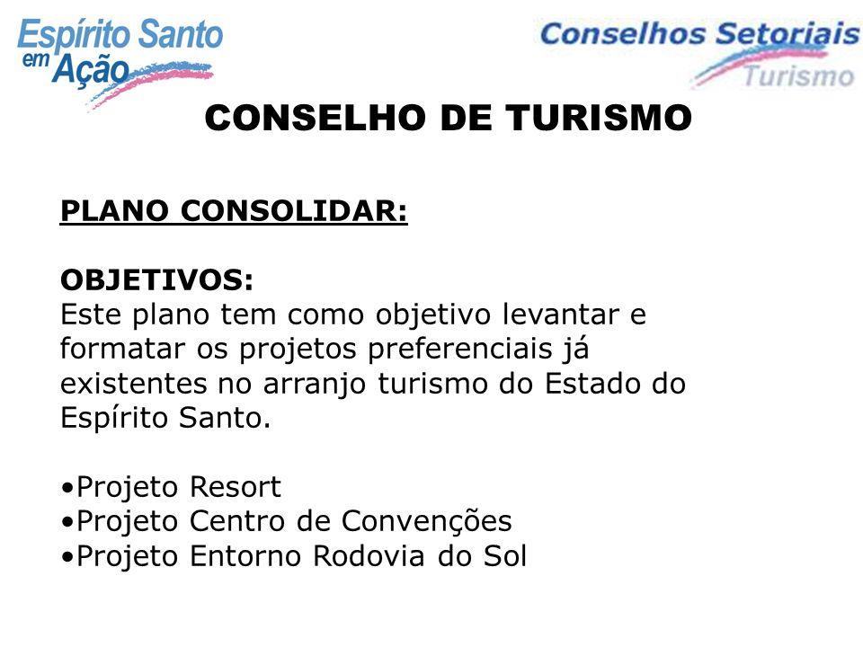 CONSELHO DE TURISMO PLANO CONSOLIDAR: