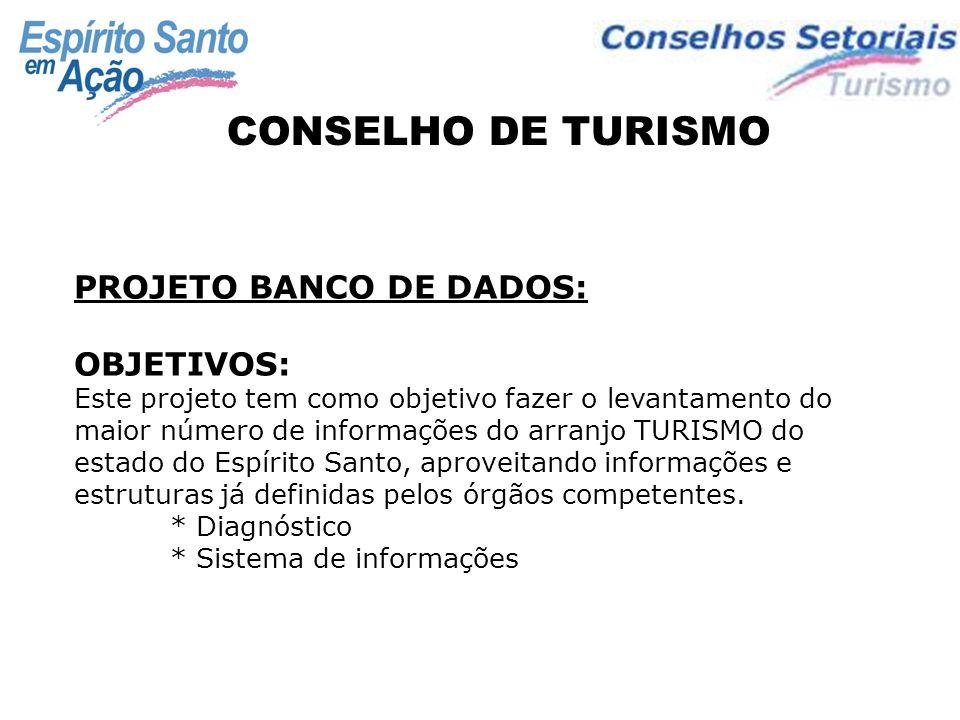 CONSELHO DE TURISMO PROJETO BANCO DE DADOS: