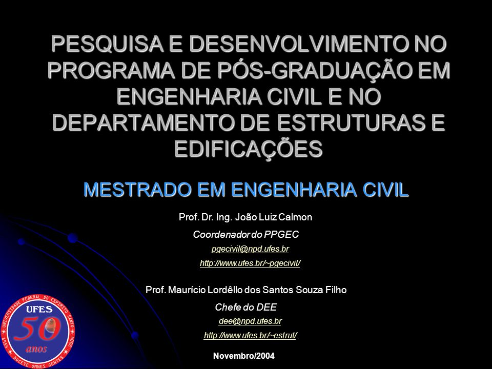 MESTRADO EM ENGENHARIA CIVIL