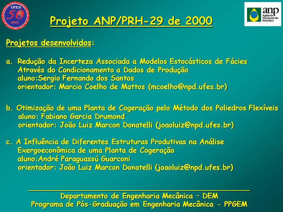 Projeto ANP/PRH-29 de 2000 Projetos desenvolvidos: