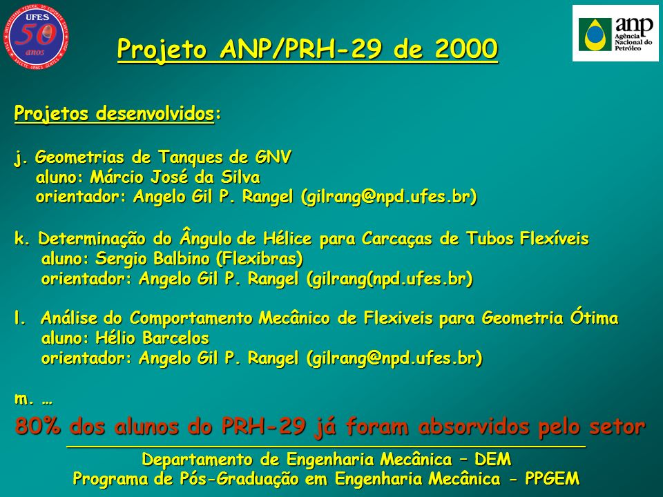 Projeto ANP/PRH-29 de 2000Projetos desenvolvidos: j. Geometrias de Tanques de GNV. aluno: Márcio José da Silva.