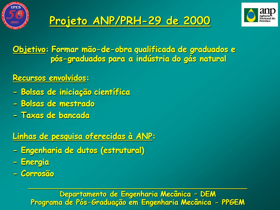 Projeto ANP/PRH-29 de 2000Objetivo: Formar mão-de-obra qualificada de graduados e. pós-graduados para a indústria do gás natural.