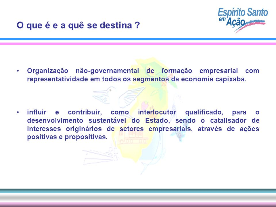 O que é e a quê se destina Organização não-governamental de formação empresarial com representatividade em todos os segmentos da economia capixaba.