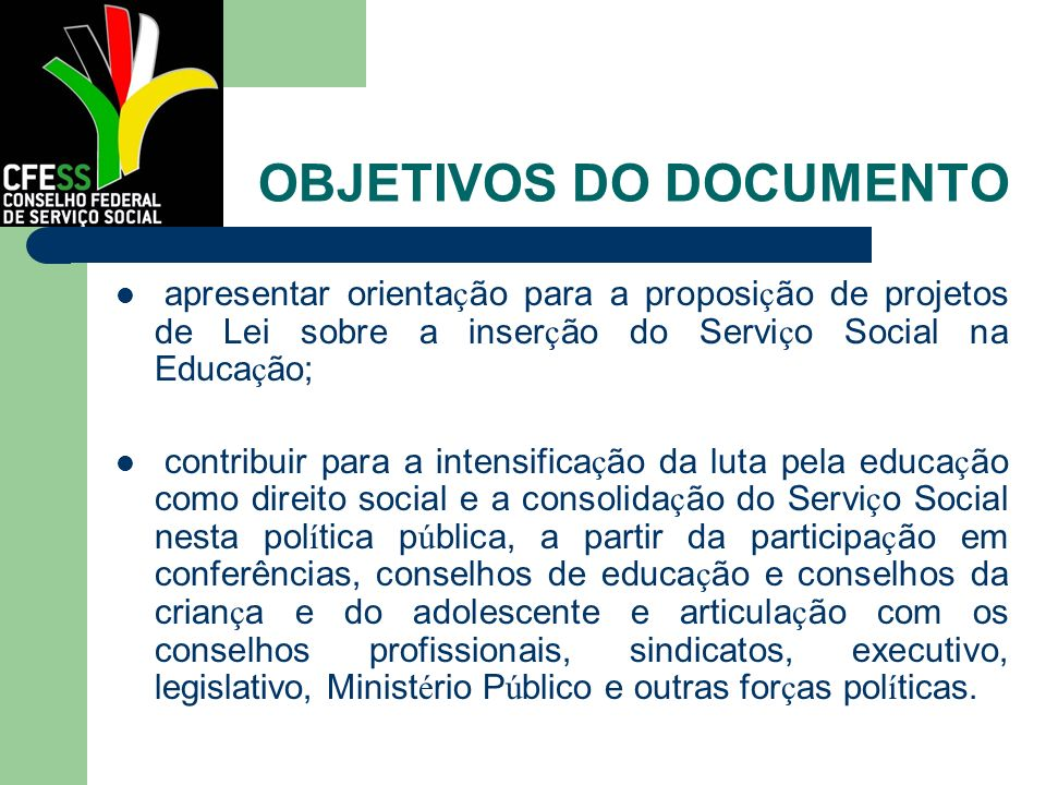 OBJETIVOS DO DOCUMENTO