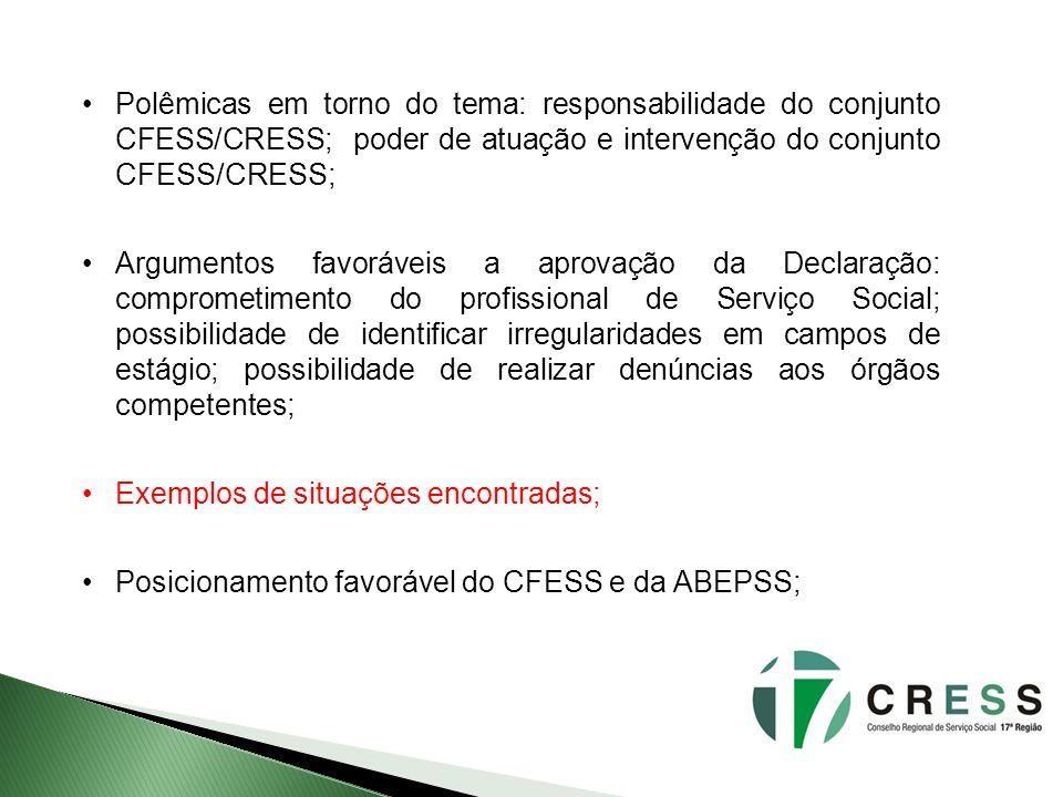 Polêmicas em torno do tema: responsabilidade do conjunto CFESS/CRESS; poder de atuação e intervenção do conjunto CFESS/CRESS;