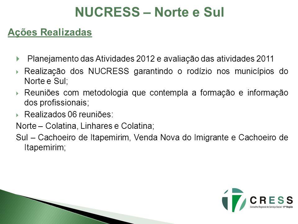 NUCRESS – Norte e Sul Ações Realizadas. Planejamento das Atividades 2012 e avaliação das atividades 2011.