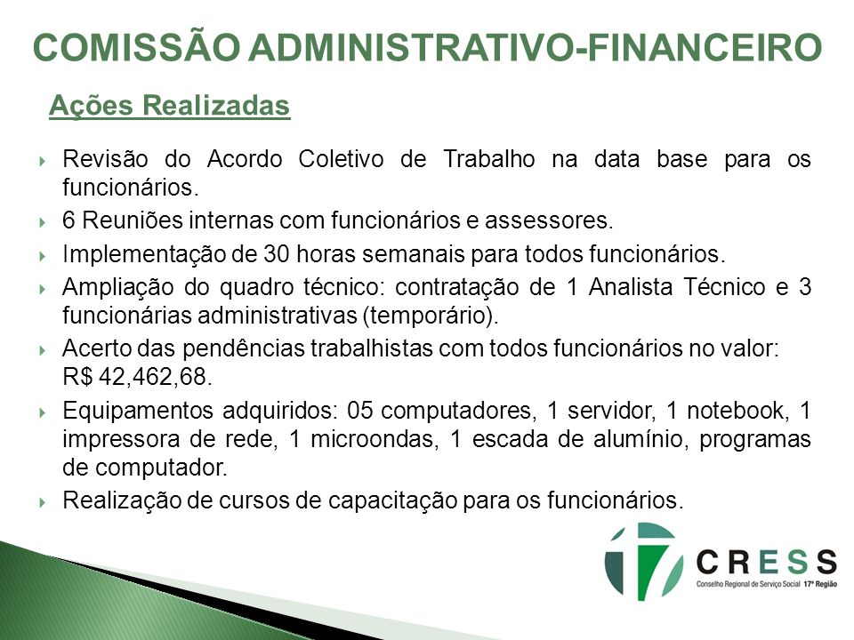 COMISSÃO ADMINISTRATIVO-FINANCEIRO