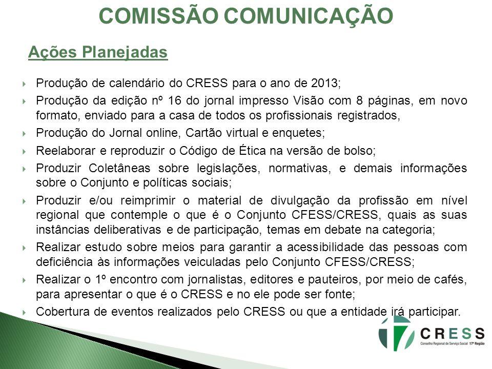 COMISSÃO COMUNICAÇÃO Ações Planejadas