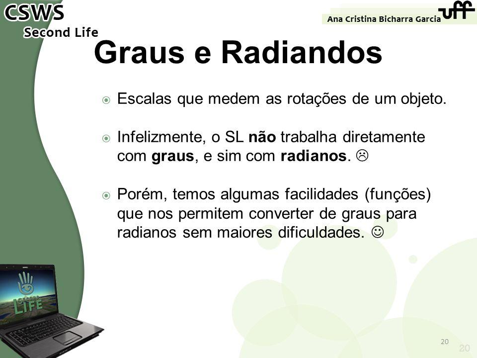 Graus e Radiandos Escalas que medem as rotações de um objeto.