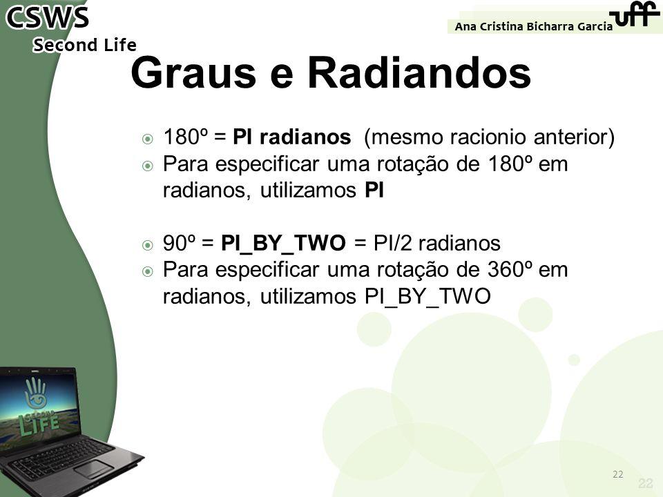 Graus e Radiandos 180º = PI radianos (mesmo racionio anterior)