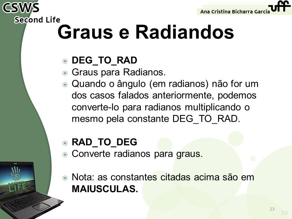 Graus e Radiandos DEG_TO_RAD Graus para Radianos.