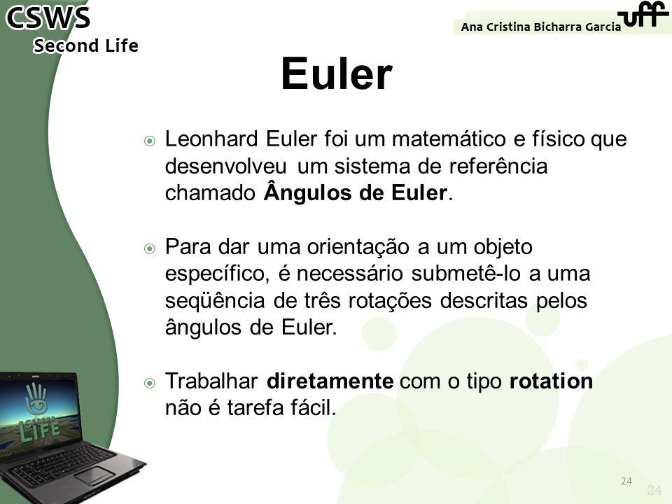 Euler Leonhard Euler foi um matemático e físico que desenvolveu um sistema de referência chamado Ângulos de Euler.