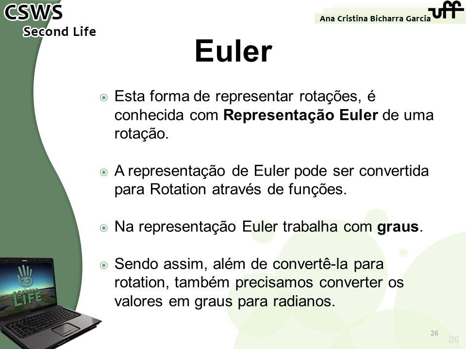 Euler Esta forma de representar rotações, é conhecida com Representação Euler de uma rotação.