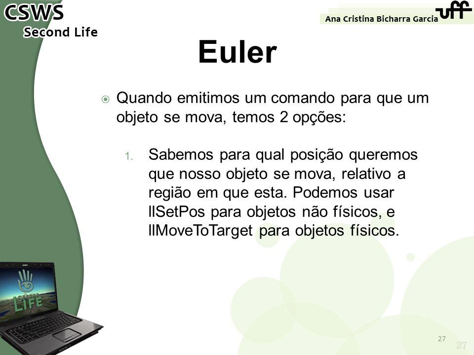 Euler Quando emitimos um comando para que um objeto se mova, temos 2 opções: