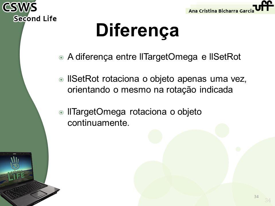 Diferença A diferença entre llTargetOmega e llSetRot